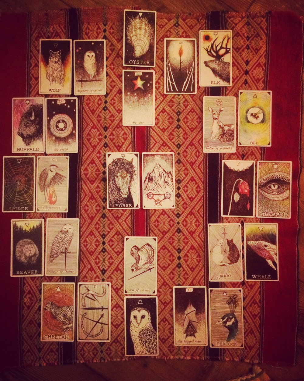 "Tarot spread for the year ahead, 2017. The inner circle of cards are The Wild Unknown Tarot. The outer circle of cards are The Wild Unknown Animal Spirit (oracle deck). The cards are laid out like a clock, January is represented in the 1:00 space, December is represented in the 12:00 space. The middle cards are my ""theme"" or ""guiding light"" cards for the year."