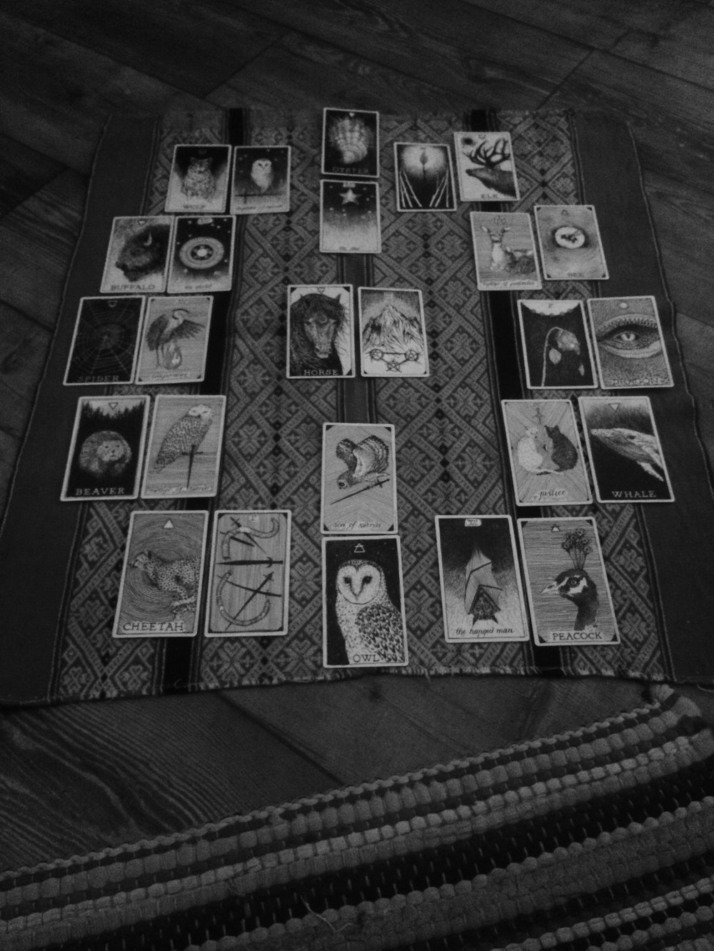 Another view of my 2017 year ahead tarot spread. I used a black and white filter for this picture because I like the way The Wild Unknown decks look in this pared down light.