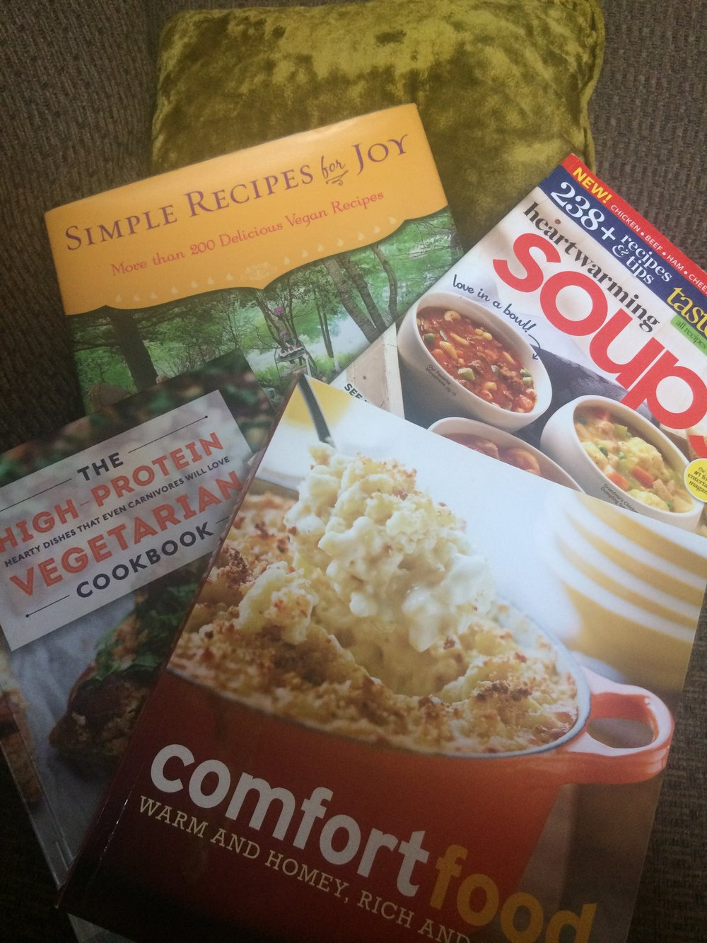 A smattering of the cookbooks I own or borrowed from the library.