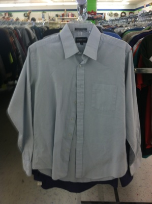 Men's shirt at thrift store.