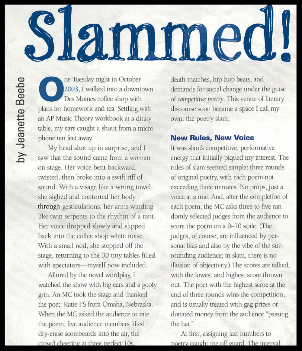 """Slammed!"", an essay published in  Imagine  magazine, Johns Hopkins University. (2005.)"