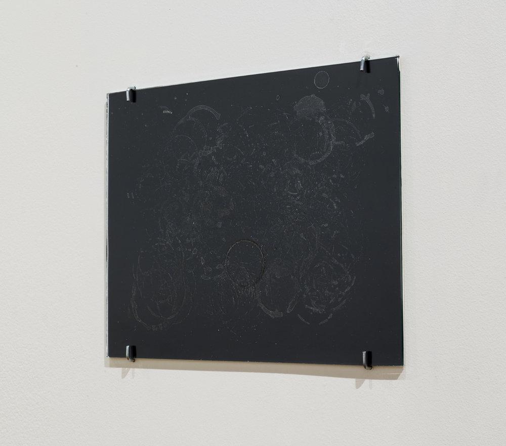 Coaster Feb. - Apr. 2017, Framed Residue on Glass/Silver Gelatin Print, 2017