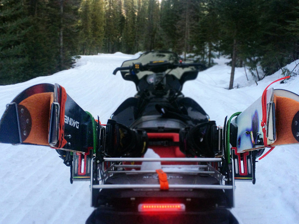 Skip the need for transitions, the Ajoosta Sled Module carries splitboards pre-split and skinned up for your convenience.  These packages can help you