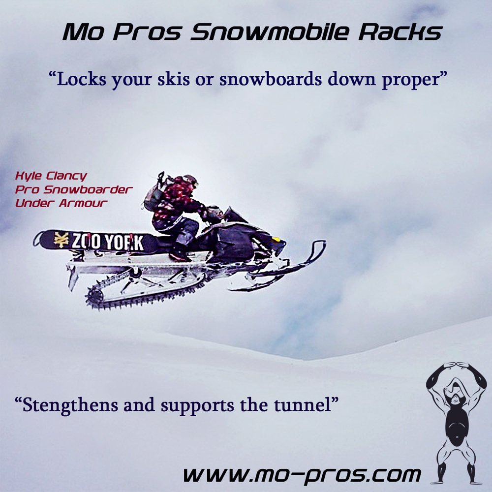 Yep, I remember the days of pack'n a board or skis across your back, we referred to it as 'crucifix style.' Problem is, your gear slaps against trees trying to reach the high alpine, the load stress on your back is more than expected, and doubling with passengers is absolutely impossible. If you happen to make it to fresh alpine pow, tree inspired binding loss usually was the next check of your new situation; defintely lost a few bindings along the way in my day!! With these complications I started making my own racks out of chunks of wood and raggy old snowboard straps, this worked periodically well but had one other issue; it only held a board!! Other friends of mine came along with their own versions of tiny structures, holding boards well sometimes, but never any other room for packs or gear.  With our Mo Pro racks, you get complete adjustability to lock your board and ski's down proper AND carrying other things like: your backpack, smelly children, and whatever else you might need……which in my case is an AK-47, push shovels, and machetes. Wait, you don't bring that stuff?... Another benefit of the Mo Pro rack is it adds strength to your tunnel for support, carrying all your backcountry paraphernalia without bending your tunnel.  If the adjustability isn't enough for you, you can also carry your board with bindings facing inward, which means you don't lose them on a tree while weaving in and out of the woods or draggin during rowdy pow turn maneuvers. My Mo Pro rack freed my spine from carrying any weight too, leaving plenty of energy for more critical things like: building jumps, hiking, and digging my friend's snowmobile out of a tree wells all day.""