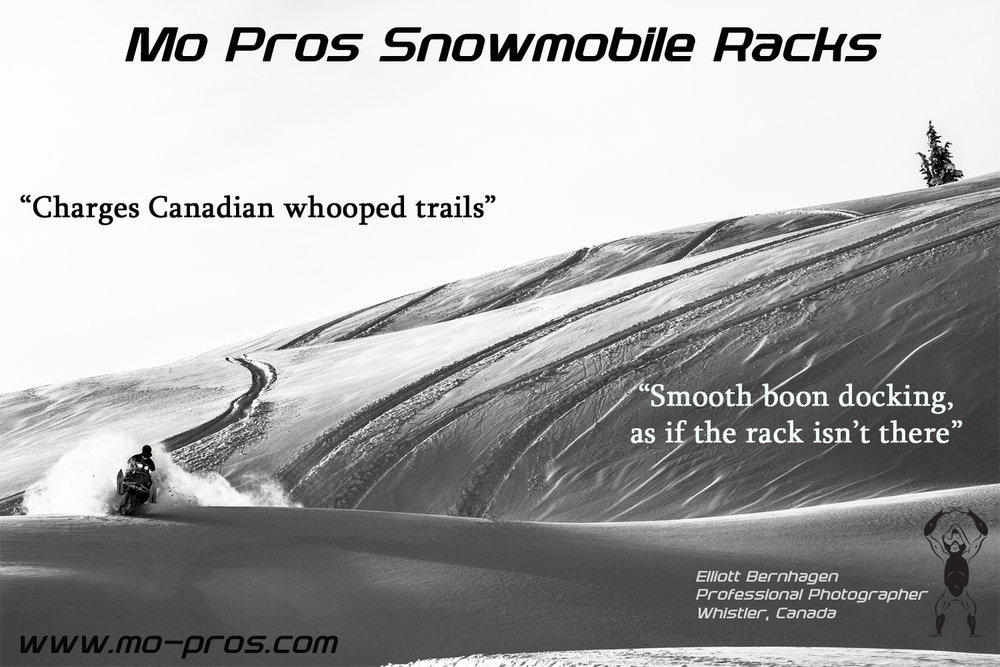 As a snowboarder, I ride with the Ajoosta rack by Mo Pros and only trust that system for my snowmobile; spending January-May riding almost everyday through strictly sled accessed terrain. Since my crew is primarily all skiers, the Ajoosta's ability to quickly transition and accommodate carry skis on my snowmobile is crucial. With the iradic snow levels we spent lots of time routing through thin terrain, which basically means my snowmobile rolled a lot this season; with my snowboard on it. Frightening to think about, but the Ajoosta rack withstood all the beatings, no damage to be spoken for; not even damage to my ski's or snowboards in the Mo Pros Snowmobile rack either. The requirement of riding long whooped out roads is unfortunate, but it's the tax of the game if you want that fresh alpine. The Ajoosta rack system keeps my boards and ski's firmly secured, even through the gnarliest whoops Canadian approach trails throw my way. If you start to see signs of gold and make it to the trees, ski's and snowboards sit nice and flush to the side of your snowmobile; making tight tree navigation and boon docking smooth as if I was riding without a rack on your snowmobile at all. This Mo Pros rack is Simple and Solid, and it's my Backcountry Tool.