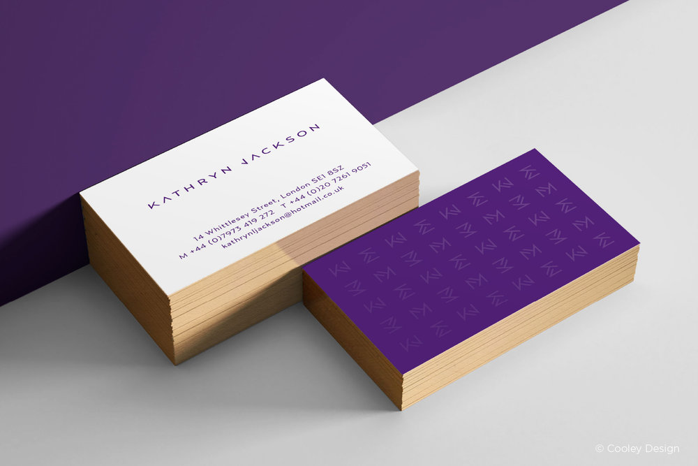 Business cards with monogram pattern