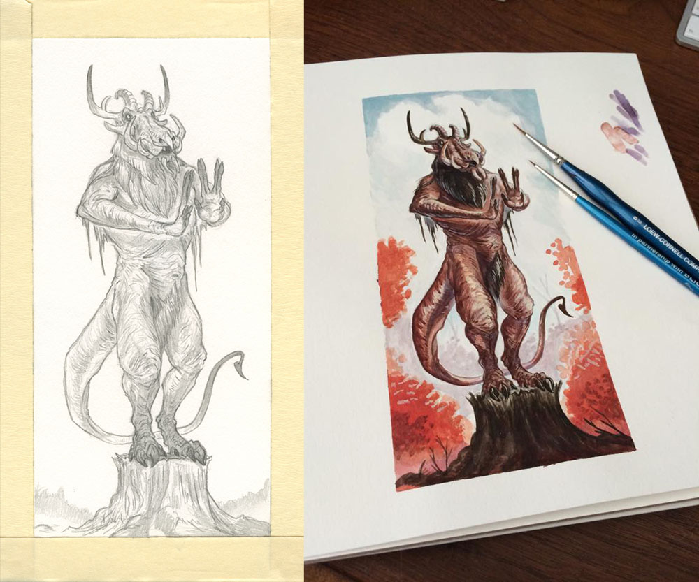 Scan of original pencil and photo of original painting.