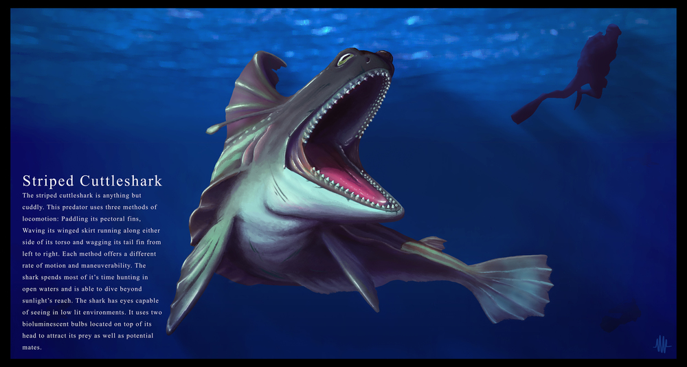 Striped Cuttleshark by Nicholas Williams :  https://www.artstation.com/artist/nickwilliams