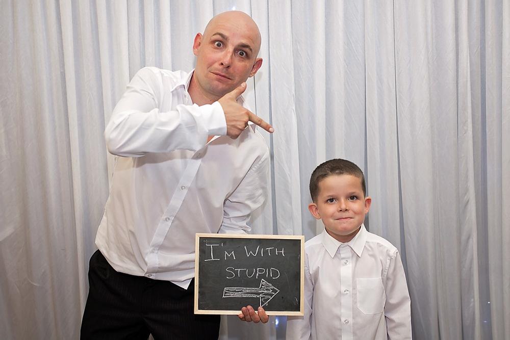 Wedding photography I'm with stupid photobooth fun