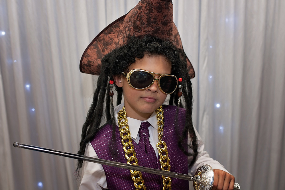 Pirate with bling at the Nottingham wedding photo booth