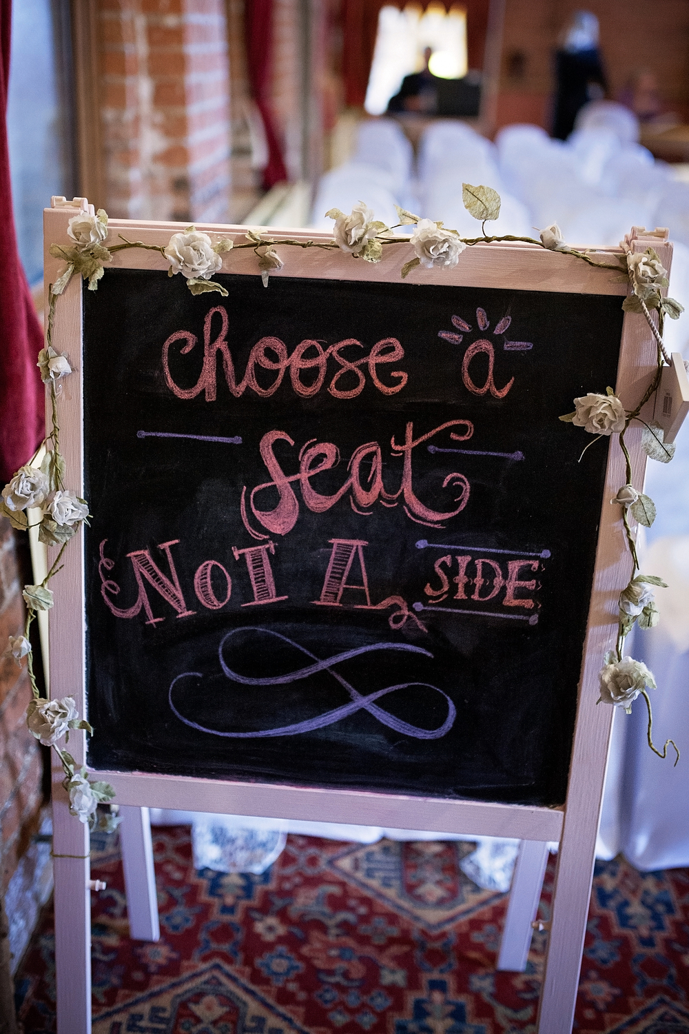 Take a seat not a side wedding guests