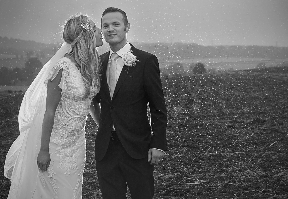 Bride and groom, off camera flash rain donington park farmhouse wedding photography