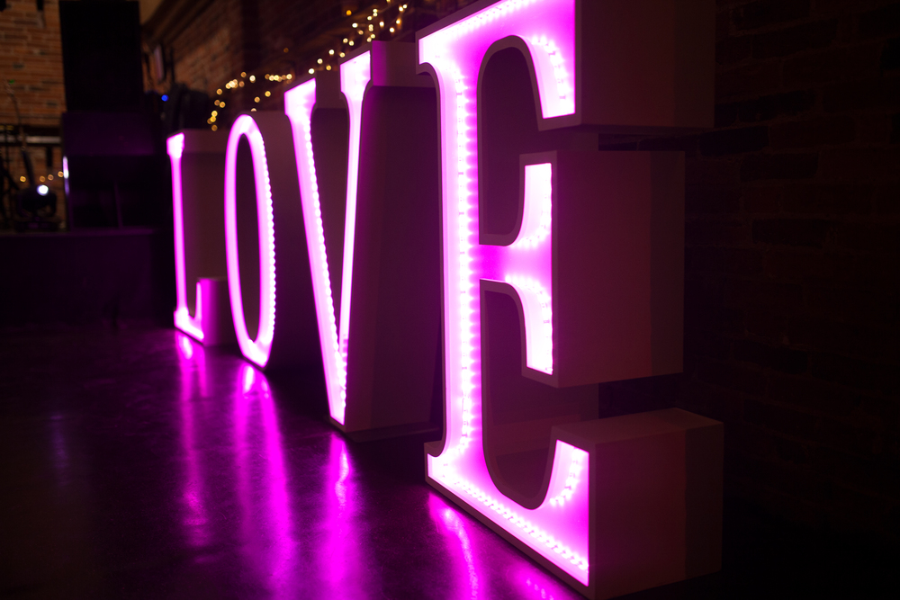 Where is the love, giant light up wedding sign