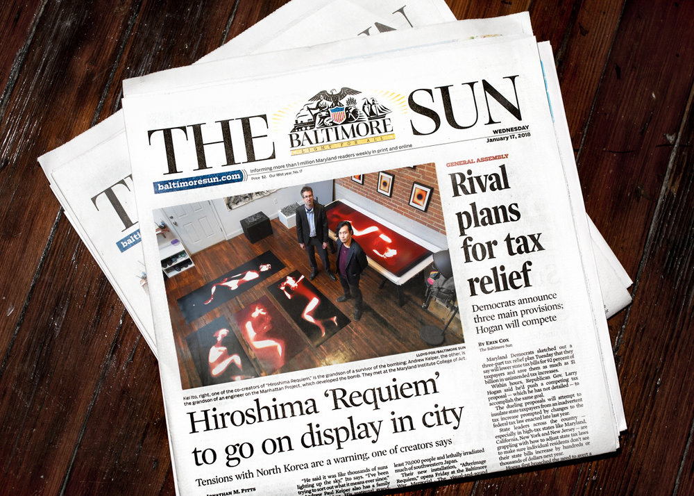 Physical newspaper was published on 01/17/2018   http://www.baltimoresun.com/news/maryland/bs-md-hiroshima-exhibit-20180109-story.html