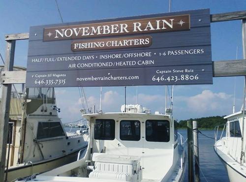 @vmyselfandi November Rain Charters sign