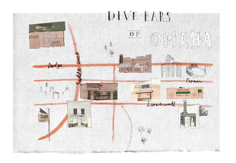 Omaha Dive Bars - Map showing the best and most notorious dive bars of Omaha, Nebraska. Available as a print in my  Etsy store .