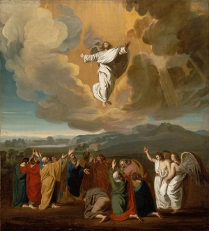 Jesus' ascension to heaven depicted by John Singleton Copley, 1775 [Public domain, via Wikimedia Commons]