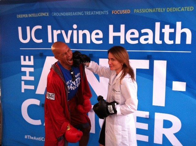 Dr. Fleischman is hard at work fighting cancer at the UCI Anti-Cancer campaign launch event.