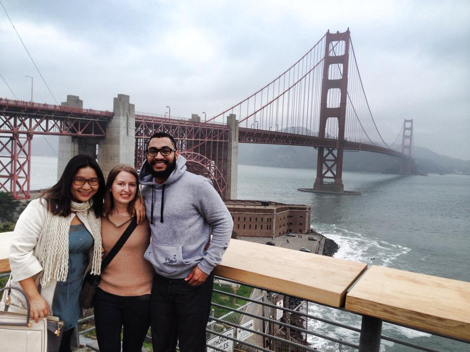 Betty, Sarah, and Stefan take a break from ASH 2014 at the Golden Gate Bridge.