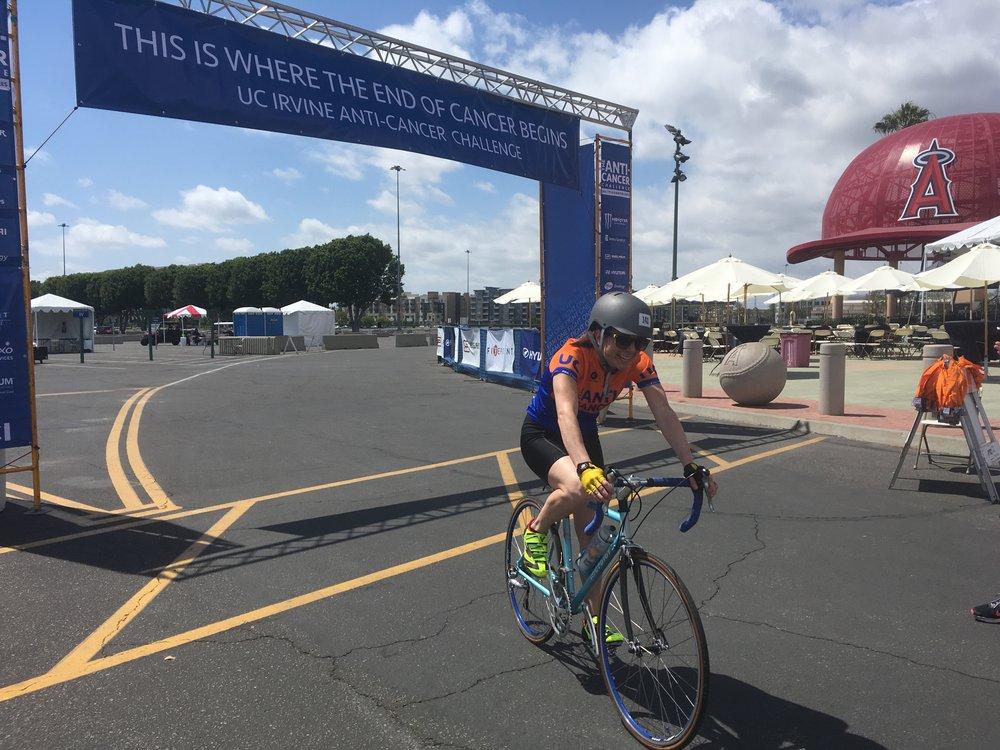 Angela crosses the finish line!