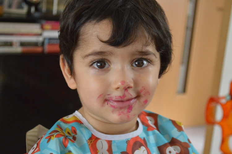 Tot enjoying his favorite Cumin Beetroot 'Raita'