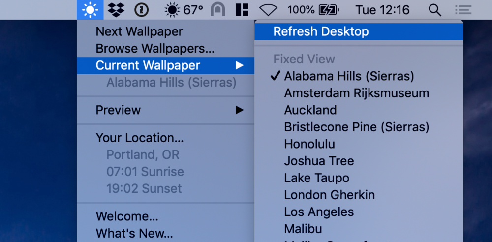 Second, select Refresh Desktop from the menu bar menu.  If you have multiple monitors you will see this option under the name of your display.