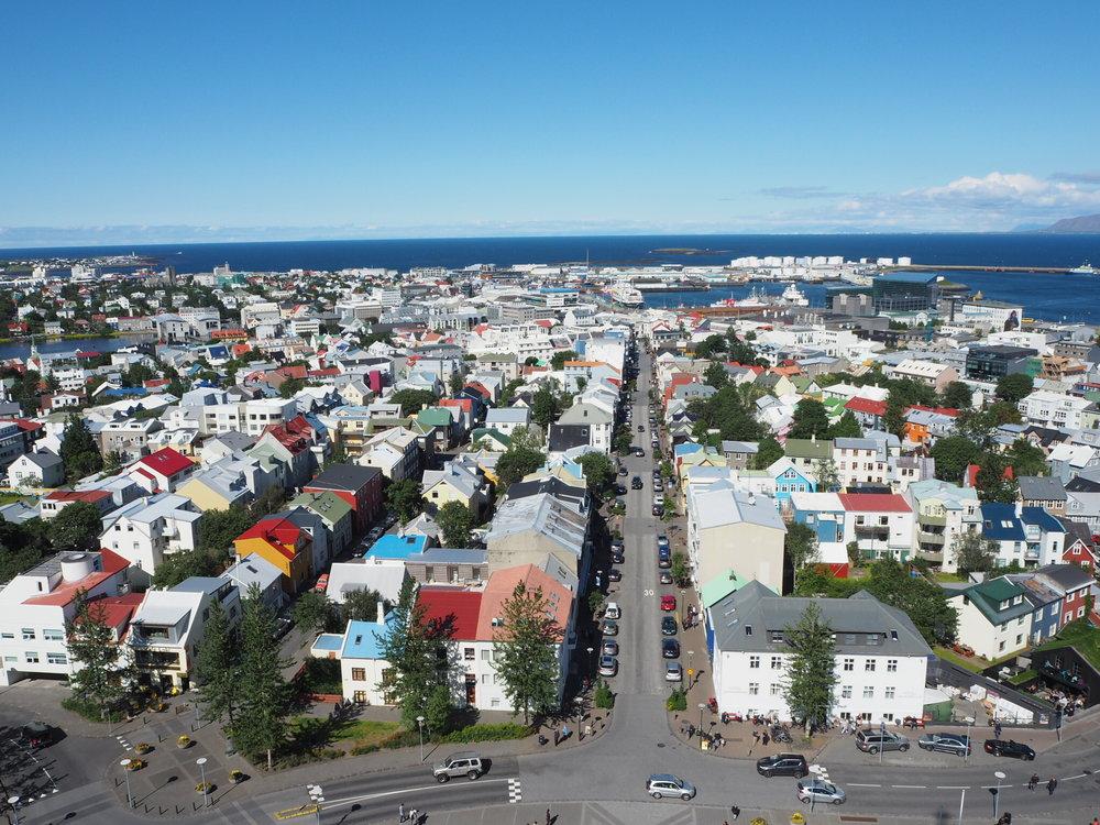 The view from the top of Hallgrímskirkja in Reykjavík