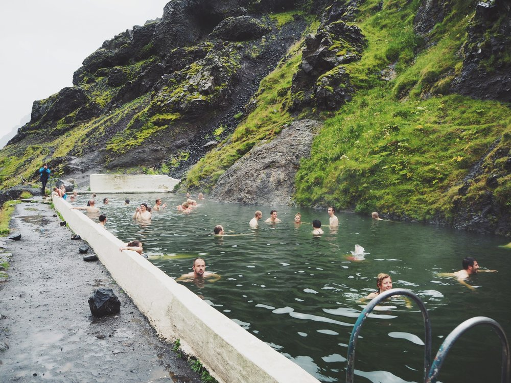 Swimming in the pool at  Seljavellir pool  was one of my personal favourites from the trip. It is the oldest swimming pool in Iceland and we spent an amazing afternoon on our last day together floating in the mossy, geothermally warmed waters while we marvelled at the vast mountains shrouded in fog that surrounded us.