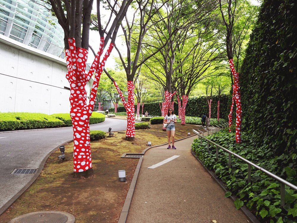 Wrapped trees for the Yayoi Kusama exhibit