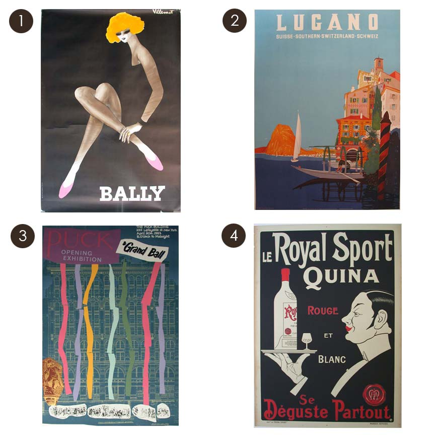 1. Bally (47 x 69 in); $1400 2. Lugano 1949 (35 x 50 in); $900 3. Puck Opening Exhibition - Grand Ball (32 x 47 in); $300 4. Le Royal Sport Quina (39.5 x 54.5 in); $2200