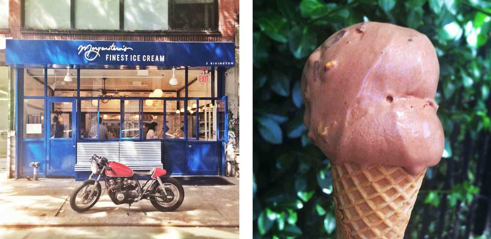 A scoop of my favorite flavor - Luxardo Cherry Road Chocolate - from Morgenstern's Finest Ice Cream.