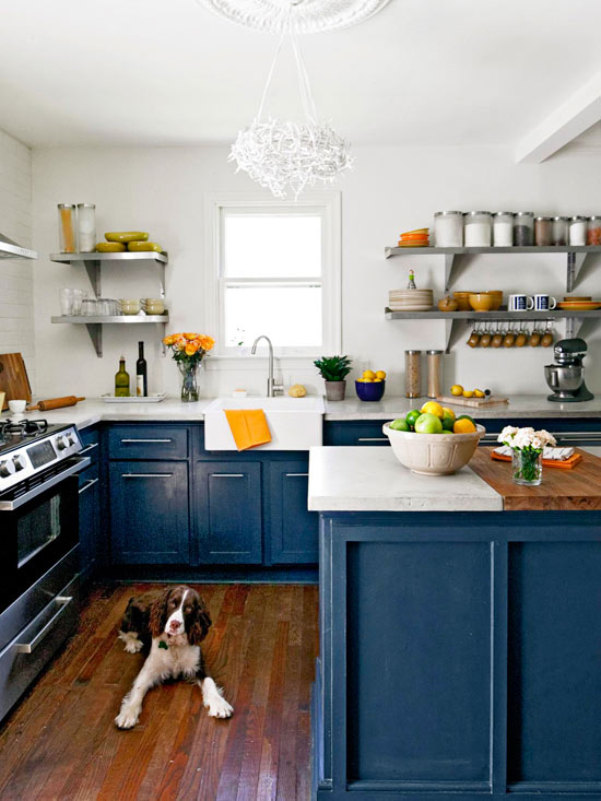 Kitchen trend watch painted cabinets and brass hardware for Dark blue kitchen cabinets