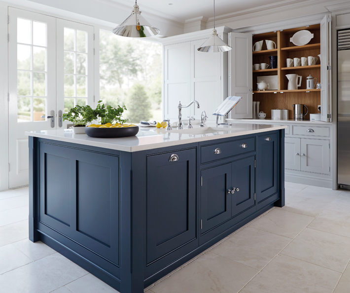Kitchen Trend Watch Painted Cabinets And Brass Hardware Ms - Light grey kitchen cabinets with black island