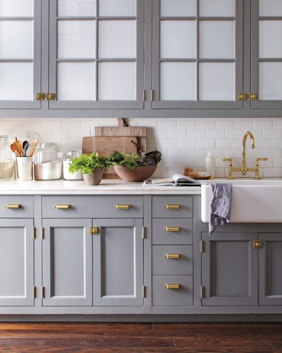 Kitchen Trend Watch Painted Cabinets And Brass Hardware Ms - Hardware for grey cabinets