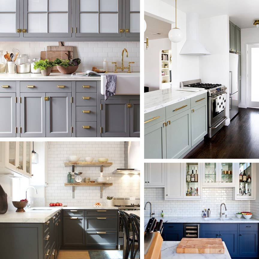 Kitchen Trend Watch Painted Cabinets And Brass Hardware Ms - Hardware for gray cabinets