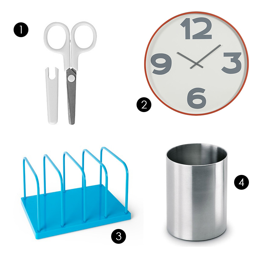 "1. Muji - Stainless Scissors 2. CB2 - 12-3-6-9 24"" Wall Clock 3. Poppin - Pool Blue File Sorter 4. 2Modern - Akto Pen Holder by Blomus"
