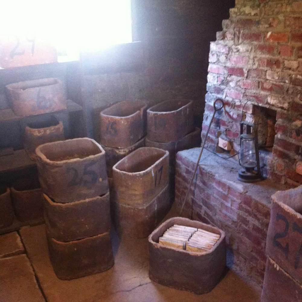 One of many kilns in the space used to fire the tiles.