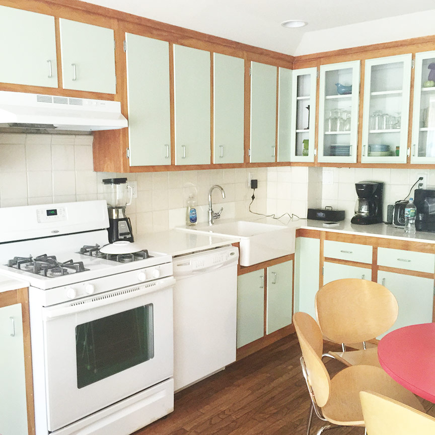 This bright and adorable kitchen was salvaged from the 1950's and refinished by Gennaro.