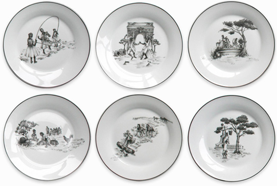 Limited Edition Harlem Toile Plates - Set of 6. Image via SheilaBridges.com