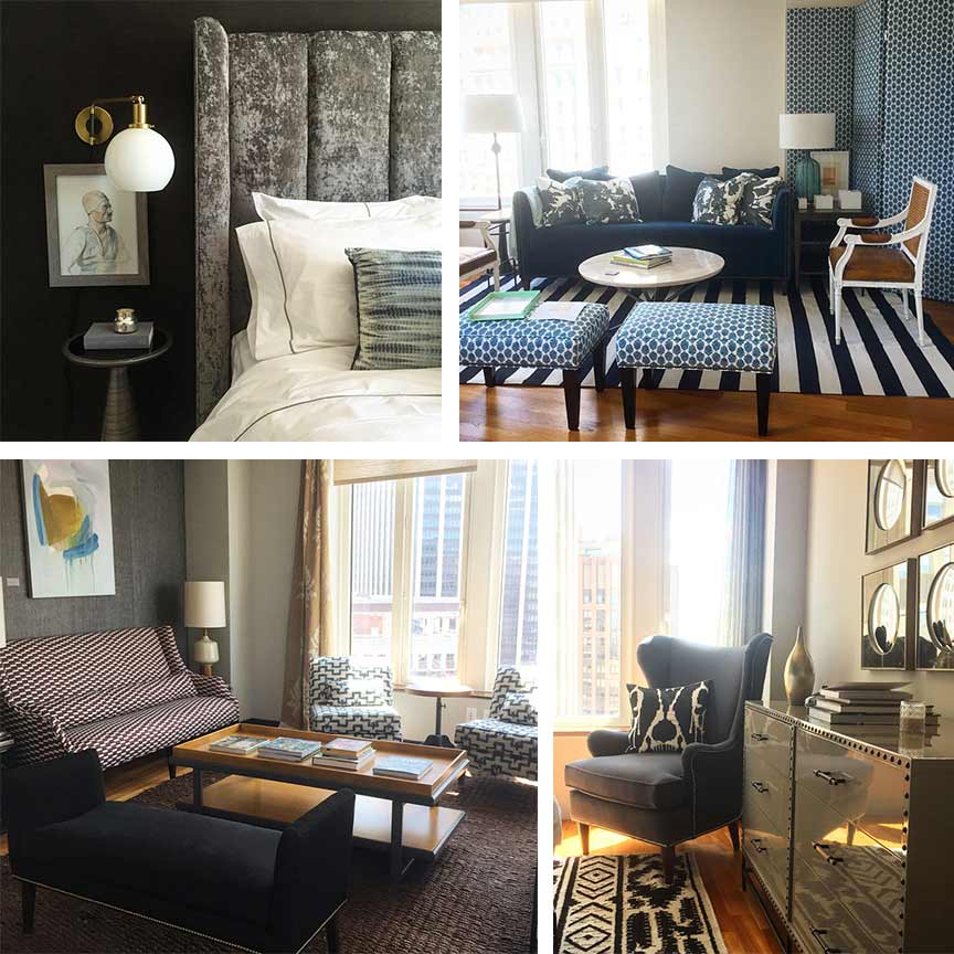 Top left: Interior design by Jenny J Norris. Top right: Interior design by J+G Designs. Bottom left: Interior design by Dekar Design. Bottom right: Interior design by Antonino Buzzetta