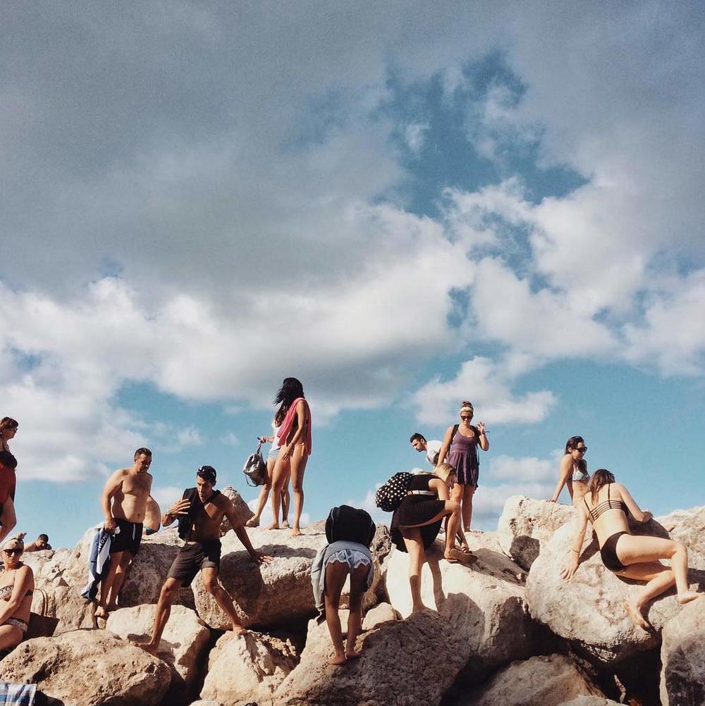 At the beach in Capri. Image via   @jungletimer  on Instagram.