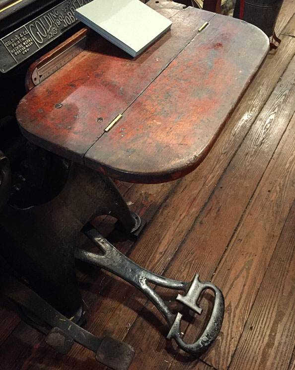 Each of these machines was built with a lot of care and craftsmanship. Check out the foot pedal on this press. Image via  @lweatherbee .