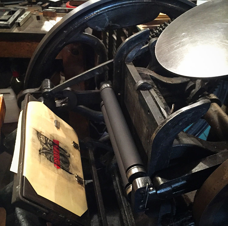 Antique printing press. Image via  @lweatherbee .