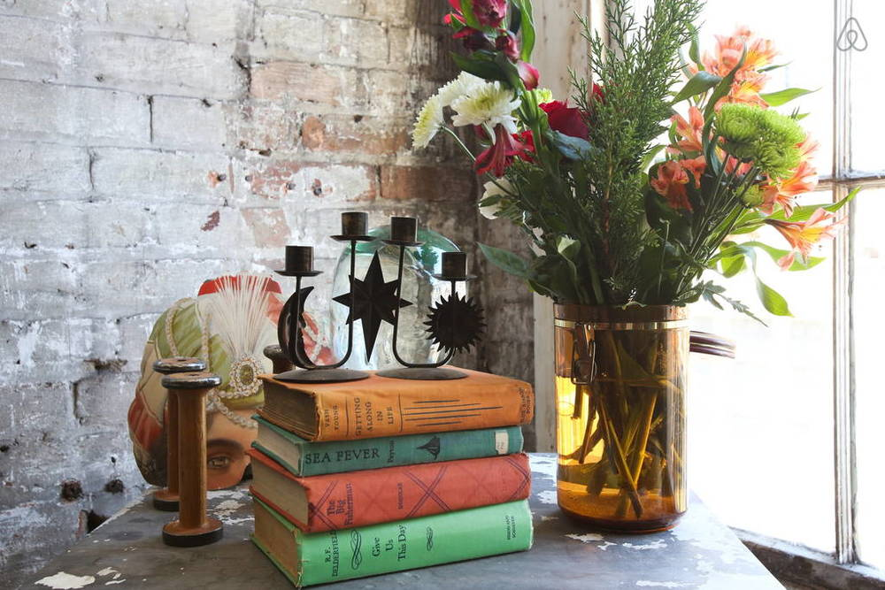 Bright bohemian vignettes are the icing on the cake.  Image via   Airbnb