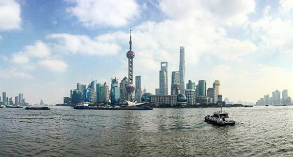 A view of Pudong from The Bund. Image via  @lweatherbee