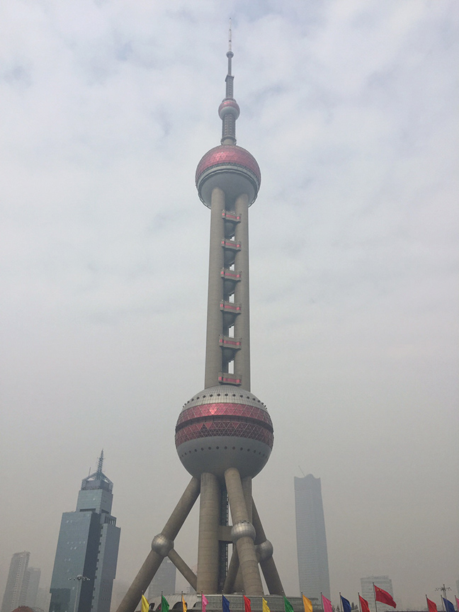 The TV tower in Pudong. Image via  @lweatherbee