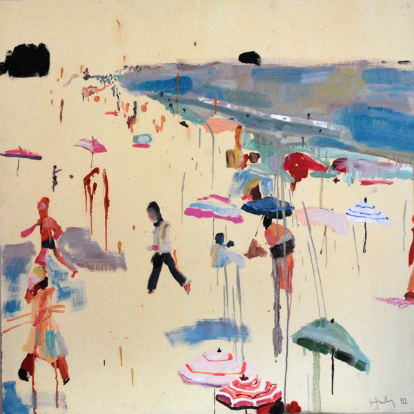 One of Caroline's most prized possessions, a beach painting she completed while at RISD -  Image via   Caroline Z Hurley