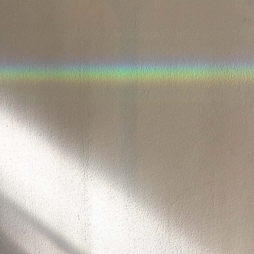 Surprise! The glass shelf in my window casts rainbows around the house all day.