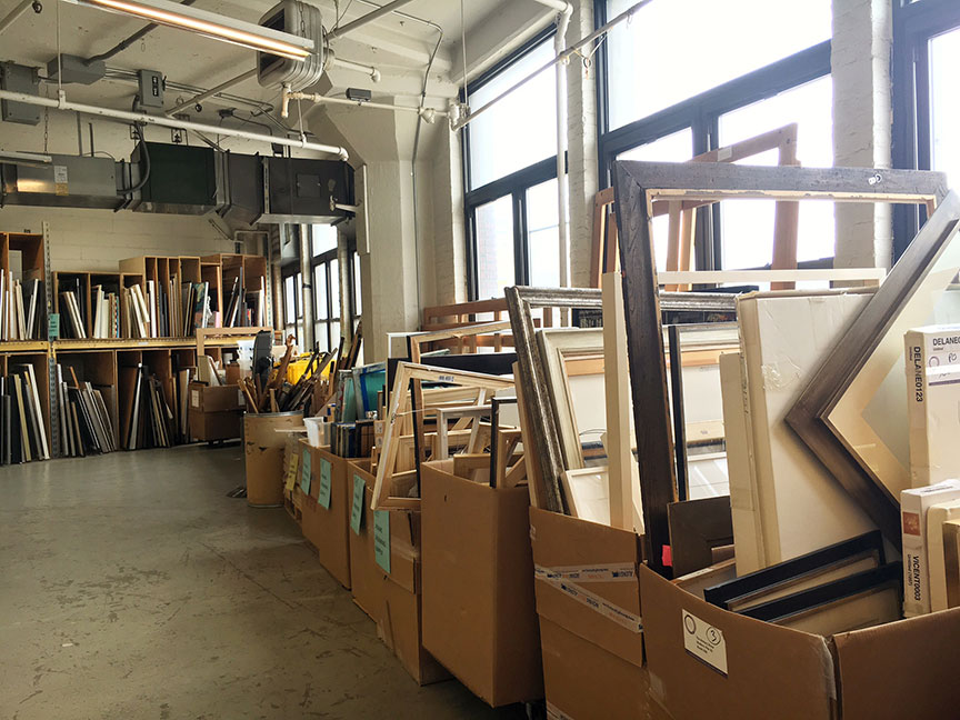 Donated frames and and canvases. Image via  @lweatherbee