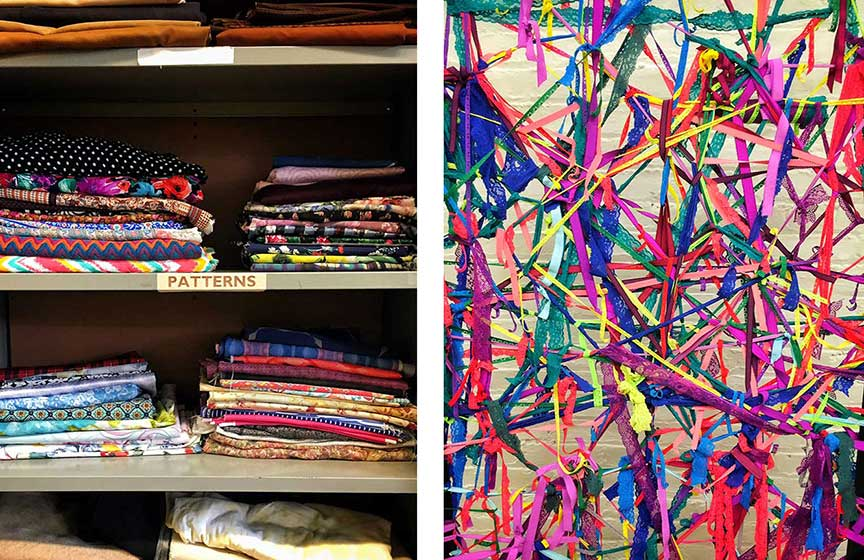 Fabric scraps can be transformed into vibrant and colorful artwork. Images via  @lweatherbee